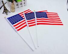 3X Small Waving Handheld American Flags USA Military Stick Ground Flags 14*21cm