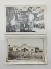 Lot Of 2 Vintage Sepia Photographs Grocery Store Workers Posing Photos F089