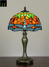 JT Tiffany Dragonfly Stained Glass Bedside Side Table Lamp Light Leadlight