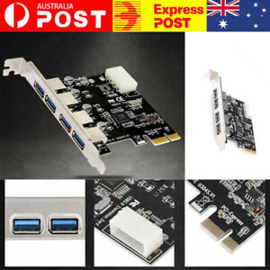 PCI-E to USB 3.0 4-Port PCI Express Expansion Card Adapter Hub VIA 5Gbps Speed 1