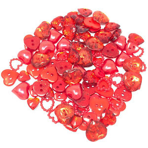 100 Mix Red Resin Heart Flatback Craft Cardmaking Embellishment