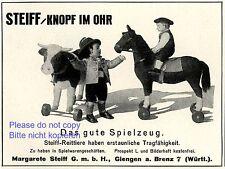 Steiff Knopf im Ohr Reklame von 1925 Bauer Kuh Reiter Pferd Werbung +