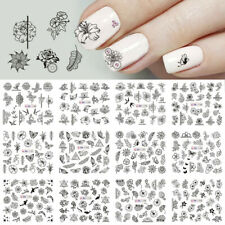 Flower DIY Art Water Transfer Decals Black Decor Nail Art Stickers Manicure