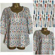 Seasalt Picture Hook Oars Print Lightweight Cotton Blouse Top 8 - 18 (ss-7h)