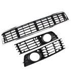 Front Bumper Center Lower Grille + Fog Light Grills for 02-05 Audi A4 B6 Sedan