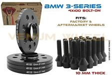 4 Pc 10 MM BMW 4x100 Black HubCentric Wheel Spacers 57.1 + 16 Black Lug Bolts