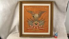 Antique 19C Patriotic Military Memorial Eagle Flags Portrait Embroidery