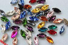 50pcs 5x10mm sew on rhinestone cabochons navette crystal glass DIY dress making