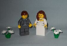 NEW CUSTOM LEGO WEDDING BRUNETTE HAIR BRIDE AND BROWN HAIR GROOM MINIFIGURES