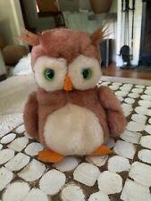 Dakin Brown Owl Plush Stuffed Animal Green Eyes Original Vintage 1975 1970s Rare