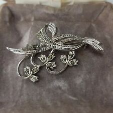Rare Vintage Silver Tone Marcasite Flower Brooch Paste Gift Costume Jewellery