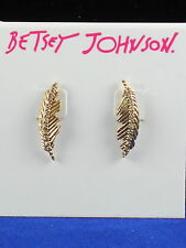 Betsey Johnson Goldtone ANGELS AND WINGS Crystal Mismatch Feather Stud Earrings