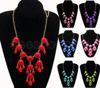 Fashion New Women Bubble Bib Statement Chain Necklace 12 Colors for Choose