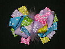"NEW ""QUATREFOIL & DOTS"" Fur Hairbow Alligator Clips Girls Ribbon Bows 5.5 Inch"