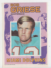 1971 TOPPS INSERT POSTER BOB GRIESE MIAMI DOLPHINS PURDUE HALL OF FAME # 7 PAPER