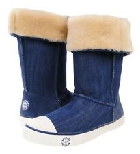 Ugg Australia Delaine Boots Womens Girls Denim Shearling Sneaker US 5 $194