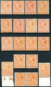 1913 2d orange royal cypher wmk - N19 shades group mostly unmounted