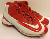 Nike Boys Huarache Keystone Mid Baseball Cleats-Red/White (Youth Size 13)