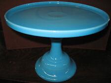 Blue milk Glass cake serving stand plate platter pedestal raised tray Bonnie art