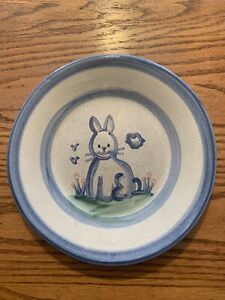 """M. A. HADLEY Bunny Rabbit Small Plate 9""""  Stoneware Vintage Country"""