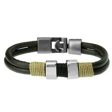 Brown Leather Cord Modern Surf Bracelet For Men by Urban Male Jewellery