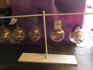 Set Of 6 Gisela Graham Gold/Gem Glass Christmas Tree Hanging Baubles 8cm-279