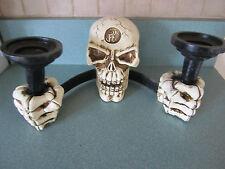 SKULL skeleton hands holding Candle holder statue Gothic theme