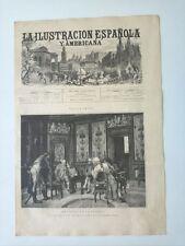 1885 Xilografía: Noticias de la Guerra cuadro original de Jimenez Aranda