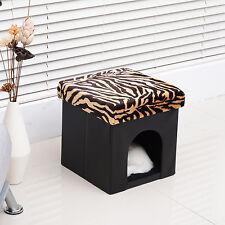 Pet Cat Dog House Bed Storage Ottoman Condo Seat Footstool Folding Leopard MDF