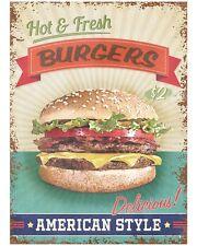 Vintage Style American Hamburger Verkauf Gastro Imbiss USA Metall Deko Plakat