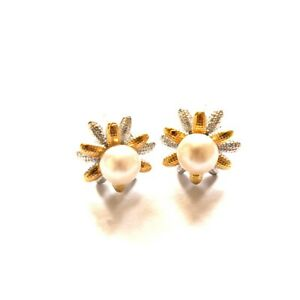 White Sunflower Freshwater Cultured Pearl with Sterling Silver 4.5-5.0mm