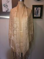 VTG 70'S DISCO GYPSY IVORY FLORAL SWANS FRINGE PIANO SHAWL WRAP SCARF TRIANGLE