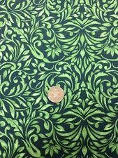 100% COTONE Quilting Craft Tessuto Benartex American Folk Art Verde Floreale