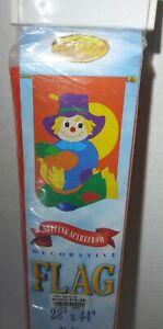 "New Creative Enterprises Sitting Scarecrow Flag 28"" x 44"" Autumn Decor Pumpkin"