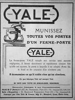 PUBLICITÉ DE PRESSE 1921 YALE MUNISSEZ TOUTES VOS PORTES D'UN FERME-PORTE YALE