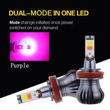 2x H8 H9 H11 LED Fog Light COB Bulb Purple Dual Mode Switchback High Quality