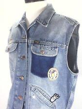 WRANGLER Woodstock Retro Denim Vest Embroidered Patches Trucker Womens M-L RARE