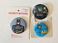 Lot of 3 Vintage DC Comics Batman & Joker Buttons / Pins