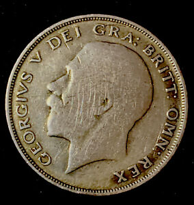 LOVELY COLLECTABLE ROYALTY KING GEORGE V 1922 SILVER HALF CROWN COIN FREE UK P+P