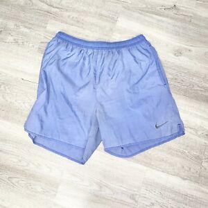 VINTAGE NIKE Swoosh Nylon Swimming Trunks 90s White Tag Blue Medium M