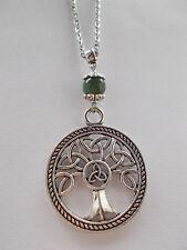 Celtic Triquetra Tree of Life Pendant Moss Agate Gemstone Bead Pagan