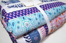 Pottery Barn Teen Multi Colors Zadey Stripes Patchwork Tassel Thread Twin Quilt