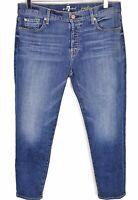 7 for all mankind Josefina Skinny Boyfriend Jeans 29 Button Fly Stretch Medium