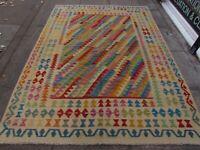 Vintage Kilim Traditional Hand Made Oriental Blue Red Wool Kilim Rug 248x179cm