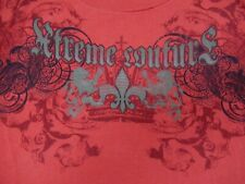 AFFLICTION EXTREME COUTURE WINGED SKULL METAL STUDS -  MEDIUM RED T-SHIRT -Y1187