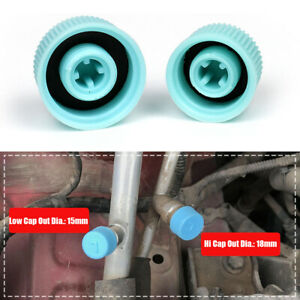 2x Blue High/Low Pressure AC A/C System Valve Cap Air Conditioning Service Tool