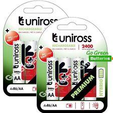 8 x Uniross HYBRIO AA 2400 mAh rechargeables piles, pré chargées NiMH LR6, HR6
