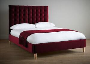 Red Luxury Velvet Textile Bed Double Design Chesterfield Classic Beds New