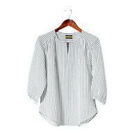 Women's Silk Blouse White Gray Striped 3/4 Sleeve Casual Work Top Loose Shirt M