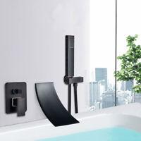 Schwarz Bad Armaturen Wasserfall Badewanne Wasserhähne Wand Montiert Handbrause